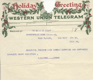 Holiday Greetings Telegram