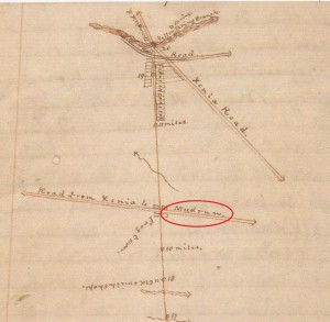 Early Yellow Springs Road Record showing Mud Run Road (known today as East Enon Road)